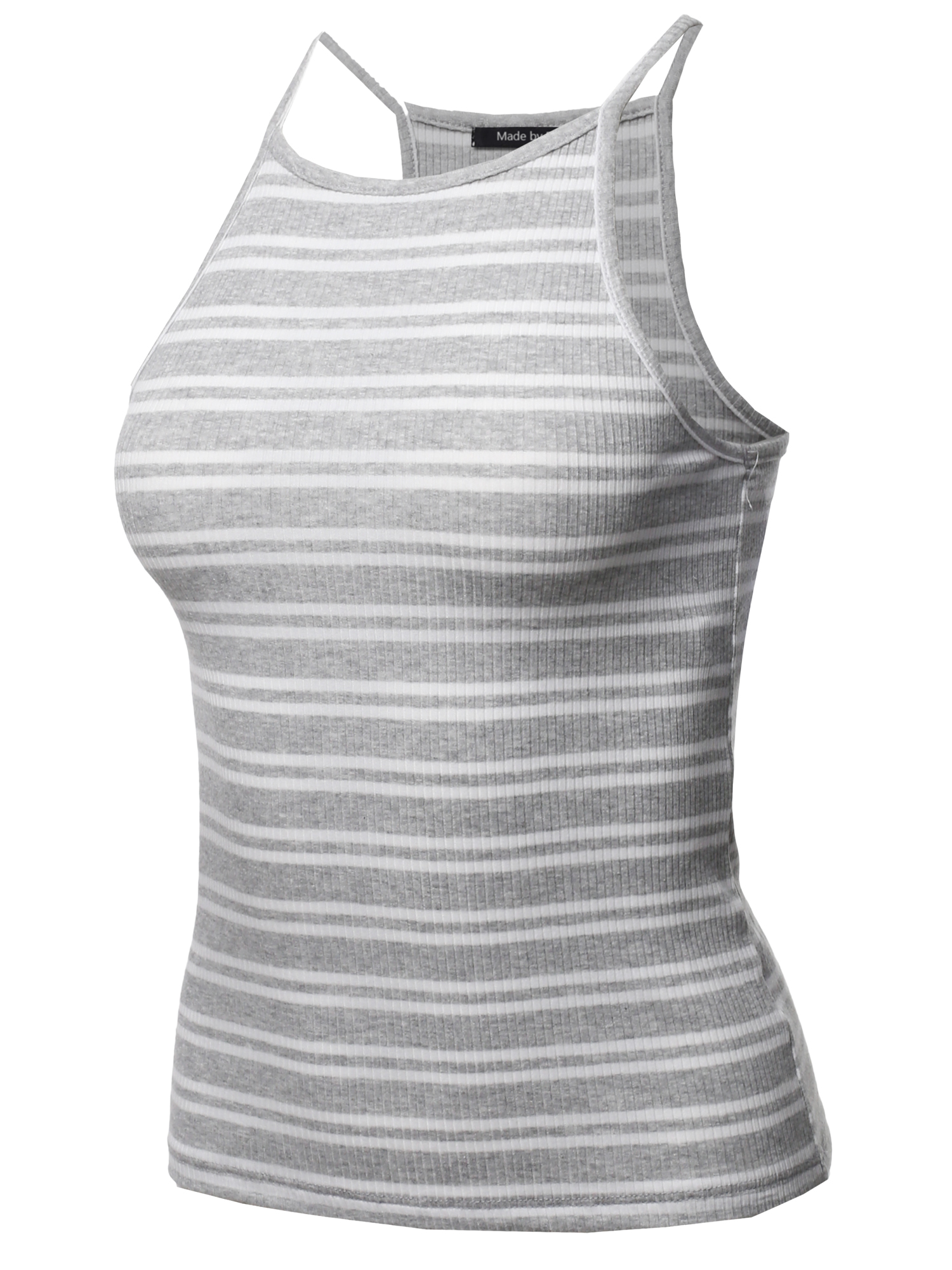 c24ec473d413f FashionOutfit Women s Basic Stripe Cotton Based High Neck Racer-Back Ribbed Tank  Top