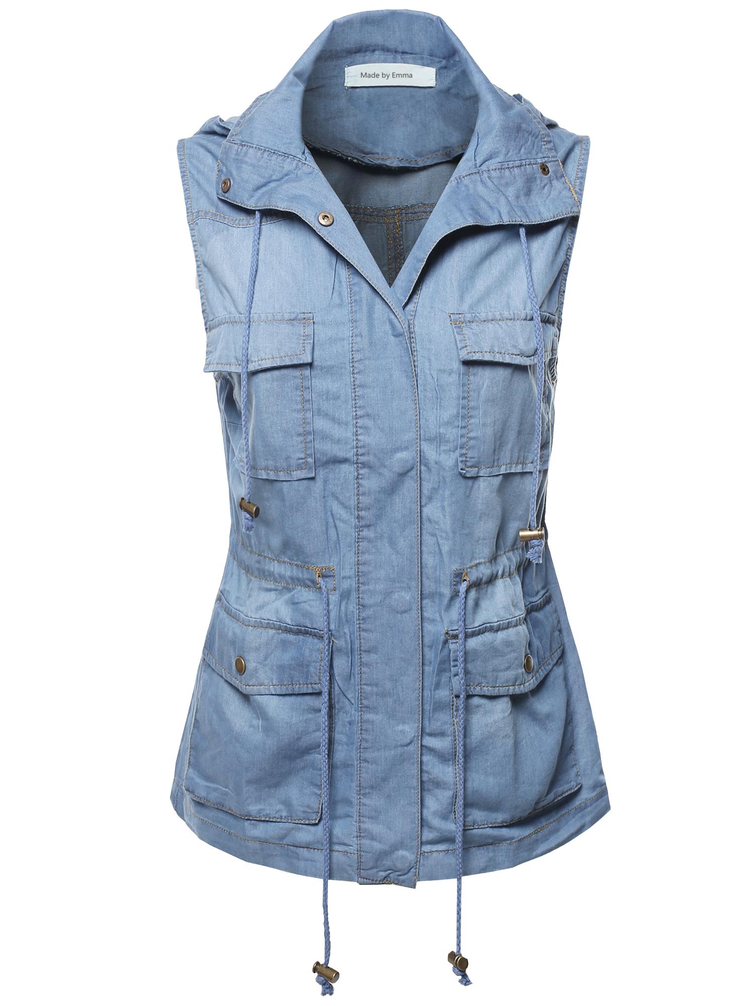 8f3df5075305a FashionOutfit Women s Casual Denim Sleeveless Military Safari Utility  Drawstring Hoodie Vest