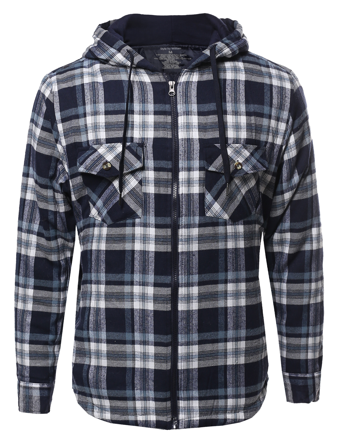 Fashionoutfit men 39 s plaid check flannel light padded zip for Men s hooded flannel shirt jacket