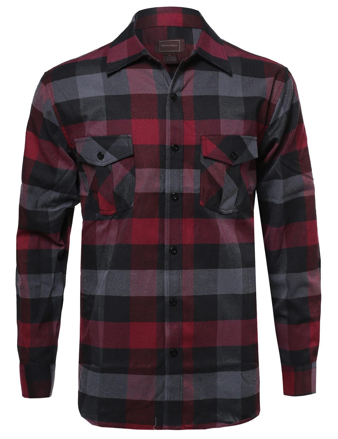 Fashionoutfit men 39 s casual flannel button down plaid for Mens plaid shirts long sleeve