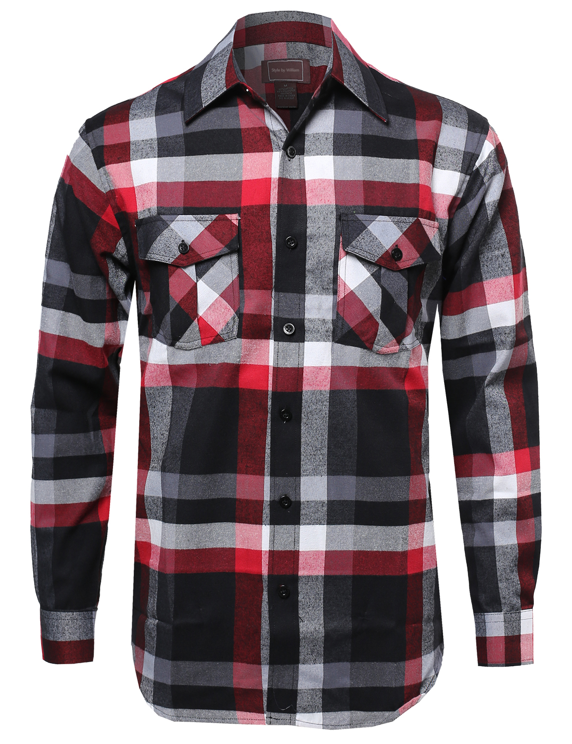 Fashionoutfit men 39 s casual flannel button down plaid for Flannel checked long sleeve shirt