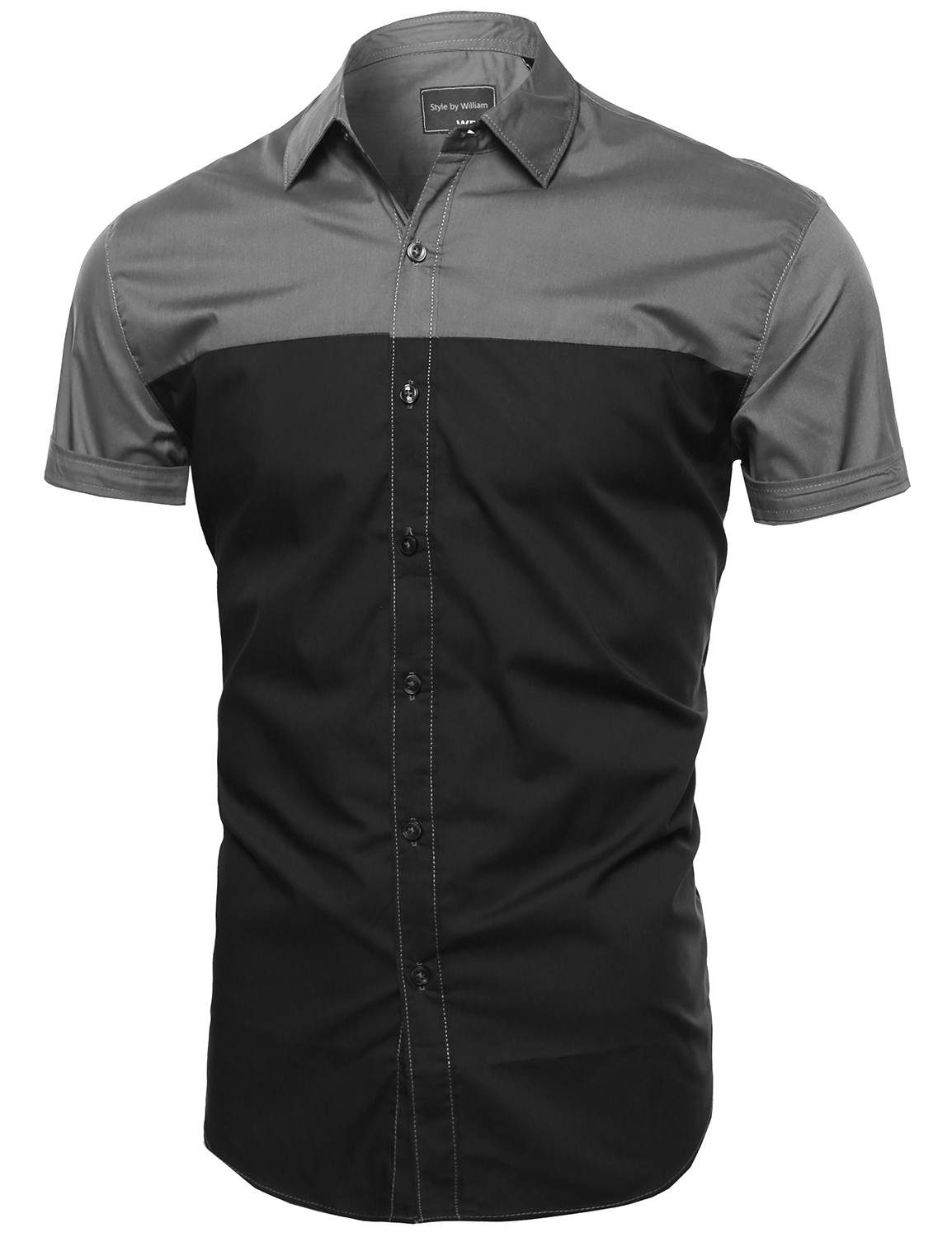 Fashionoutfit men lightweight casual color block button for Mens casual short sleeve button down shirts