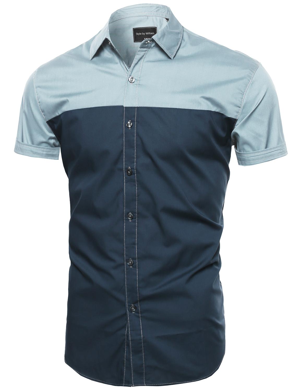 Fashionoutfit Men Lightweight Casual Color Block Button
