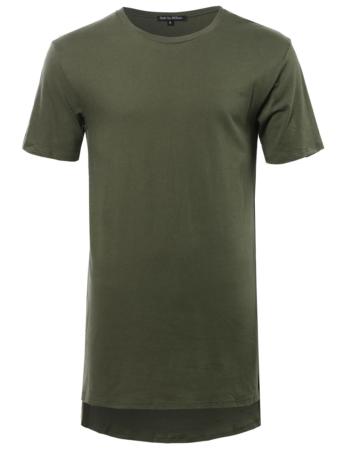 Fashionoutfit men 39 s basic solid high low long line short for Long line short sleeve t shirt