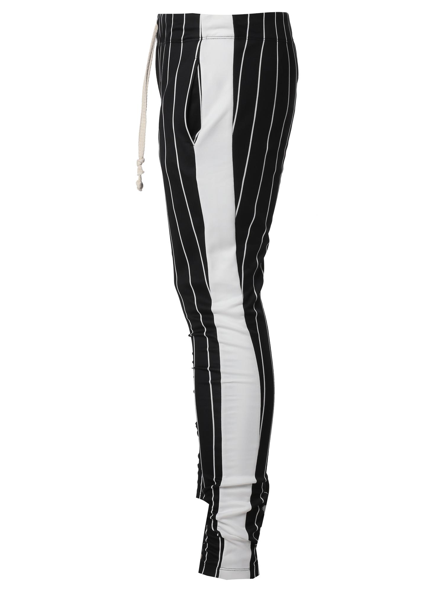 Fashionoutfit Men S Side Panel Pin Stripe Drawstring Ankle