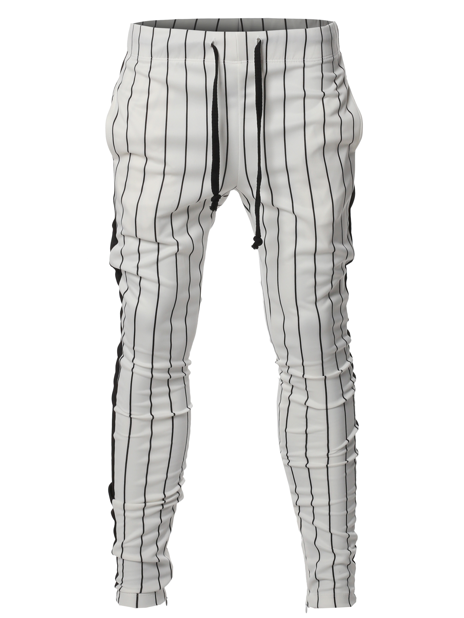 Style by William Mens Dual Side Panel Over Length Drawstring Ankle Zipper Track Pants