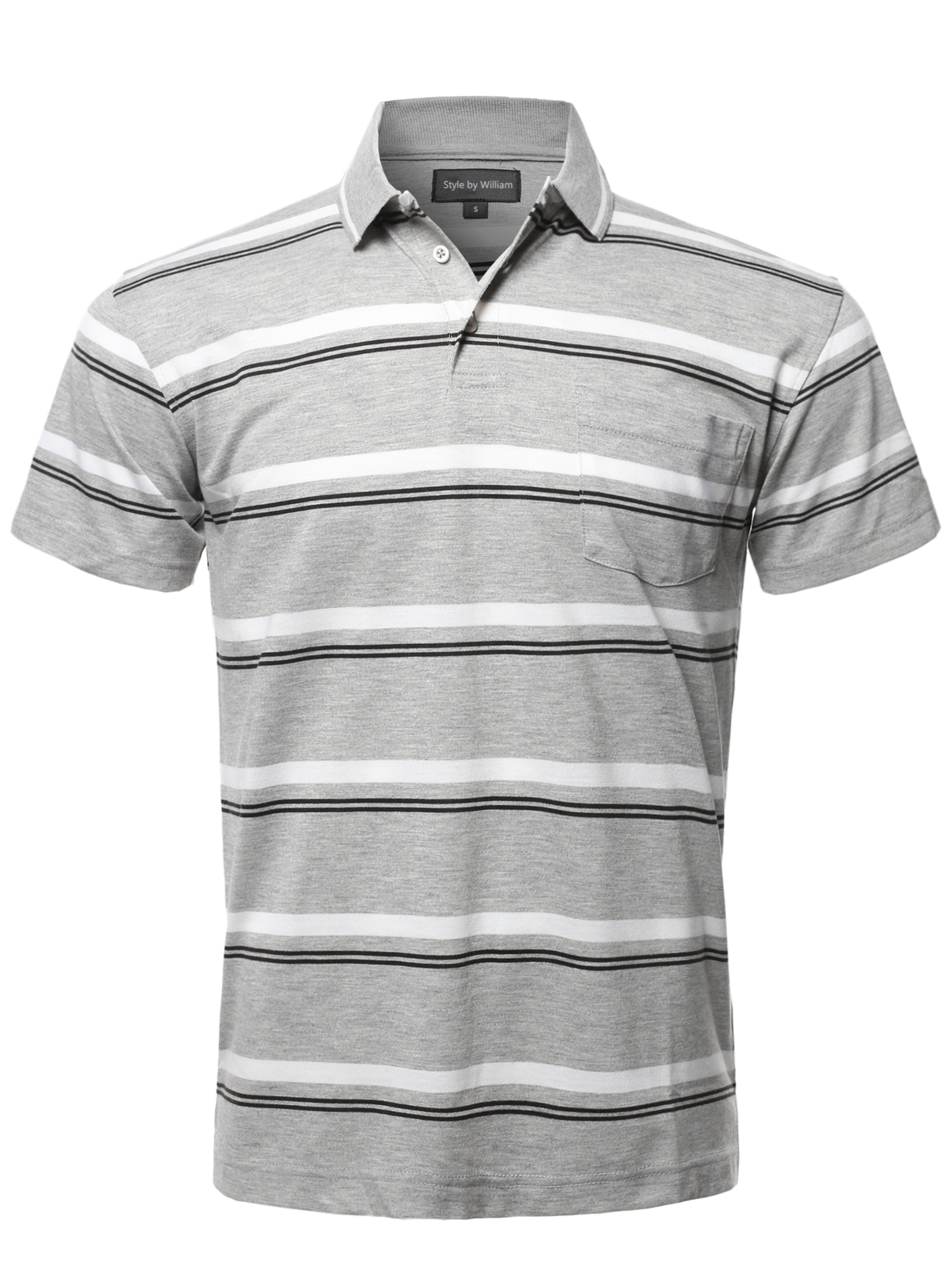 64775f7bf FashionOutfit Men's Casual Summer Basic Striped Chest Pocket Short Sleeve  Polo T-Shirt