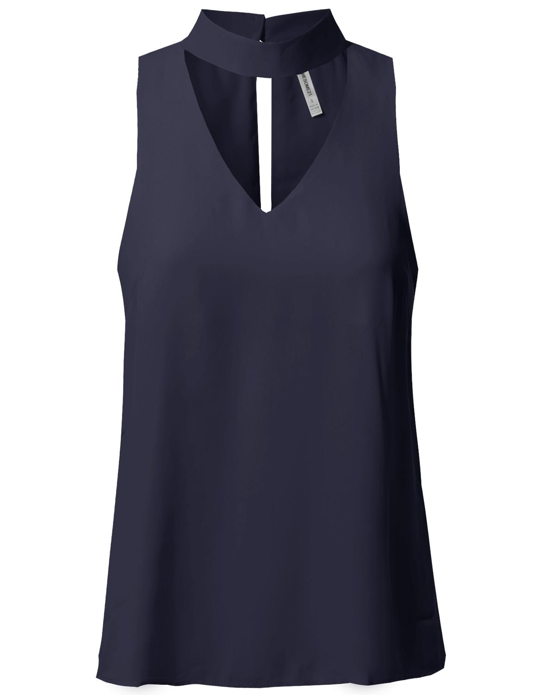 Fashionoutfit Solid Sleeveless V Neck Mock Turtleneck