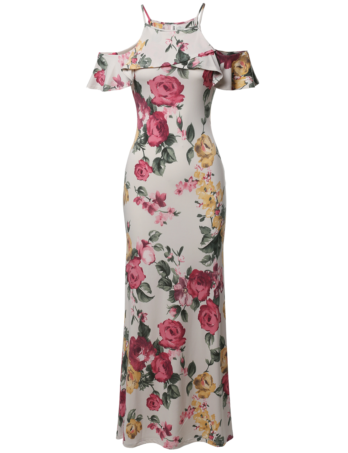 FashionOutfit Beach Wedding Guest Floral Ruffle Sleeve Maxi Dress Made In USA