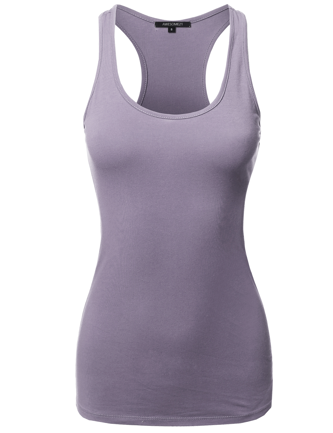 3cdfdb3c506f5b FashionOutfit Women s Solid Basic Sleeveless Racer-Back Cotton Based Tank  Top