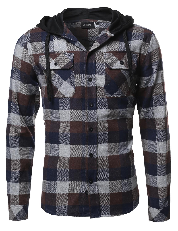 Fashionoutfit casual plaid check hoodie cotton flannel long sleeve shirt ebay - Hooi plaid ...