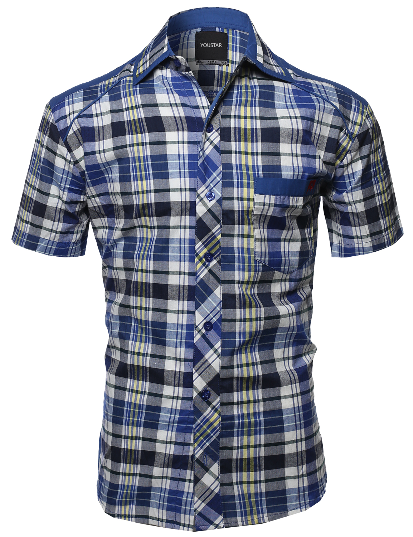 FashionOutfit Men's Casual Short Sleeve Cotton Plaid ...