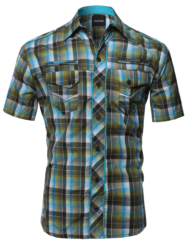 Fashionoutfit men 39 s casual short sleeve cotton plaid for Mens casual plaid shirts