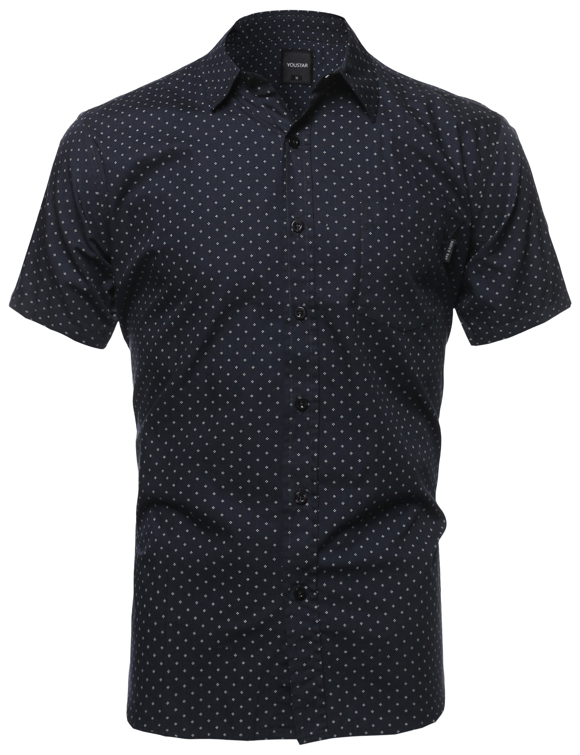 Fashionoutfit men 39 s classic polka dot patterned short for Mens polka dot shirt short sleeve