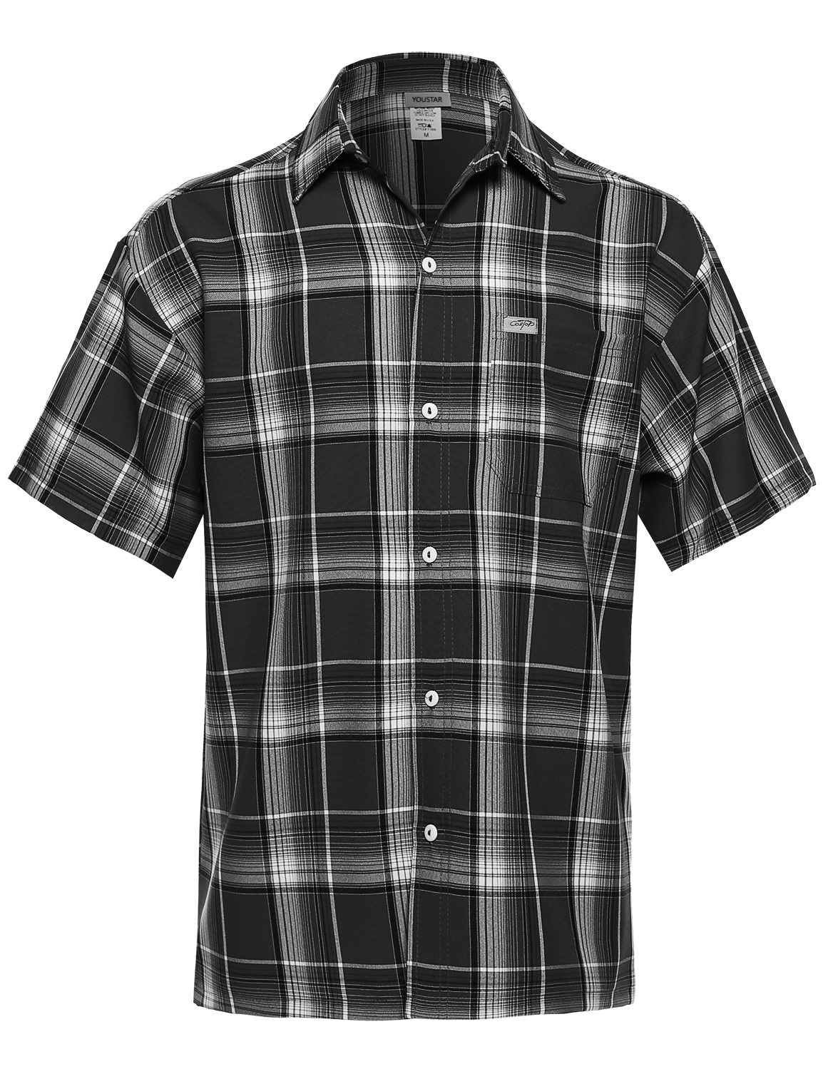 Fashionoutfit men 39 s loose fit plaid checkered short sleeve for Best short sleeve button down shirts reddit