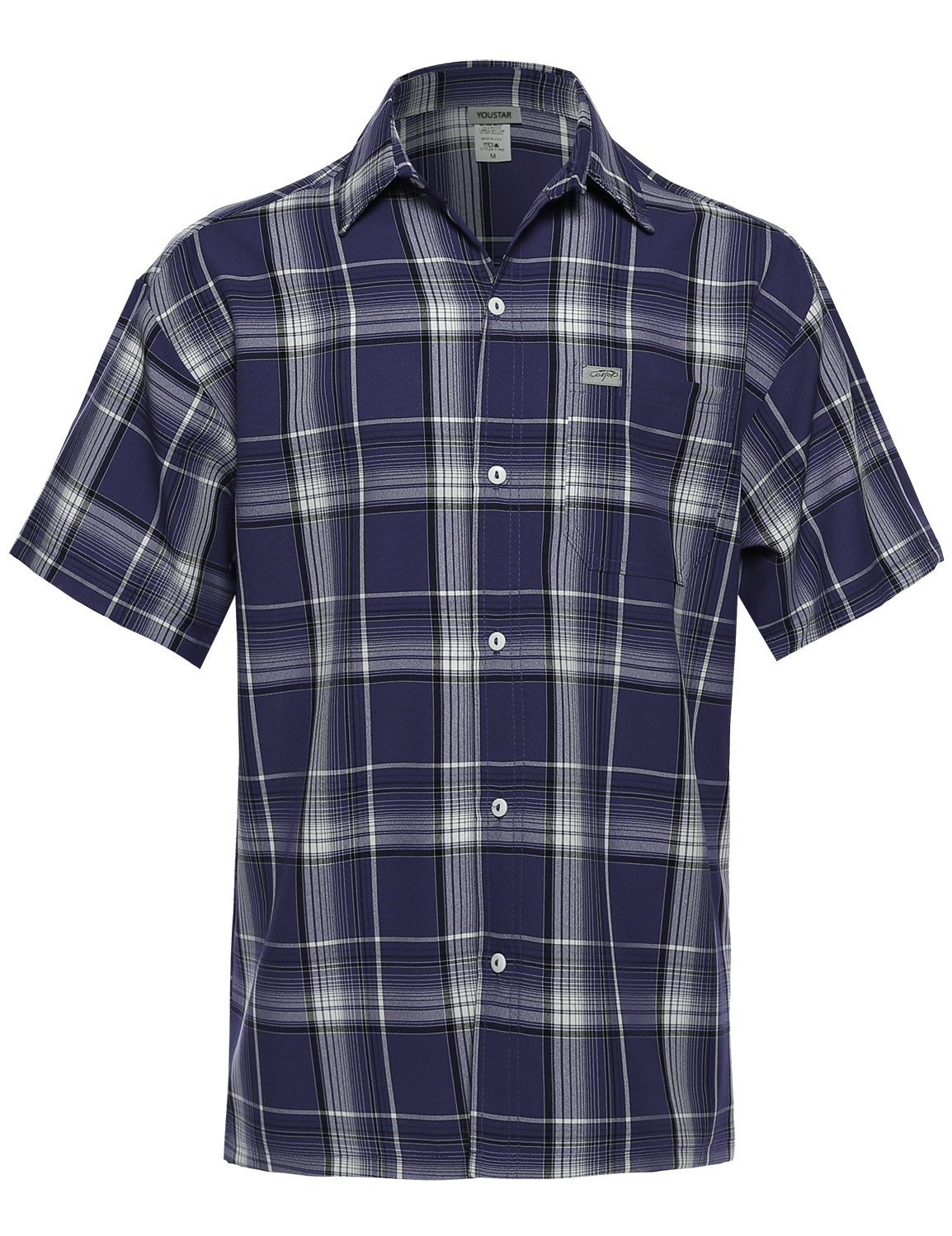 Fashionoutfit men 39 s loose fit plaid checkered short sleeve for Top mens button down shirts
