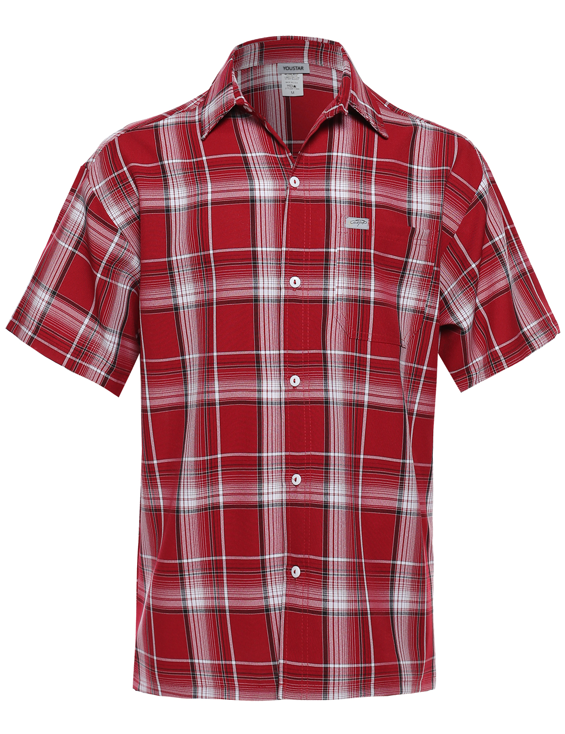 Fashionoutfit men 39 s loose fit plaid checkered short sleeve for Mens short sleeve button down shirts