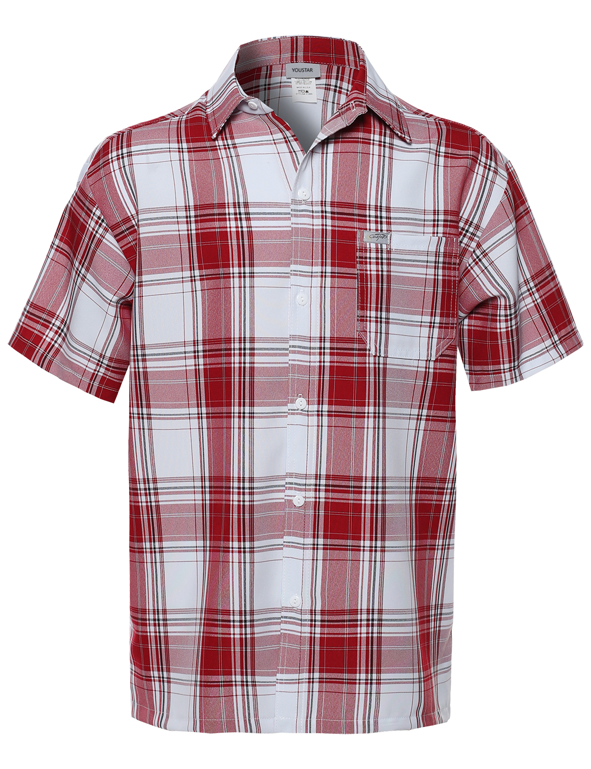 Fashionoutfit men 39 s loose fit plaid checkered short sleeve for Fitted button up shirts mens