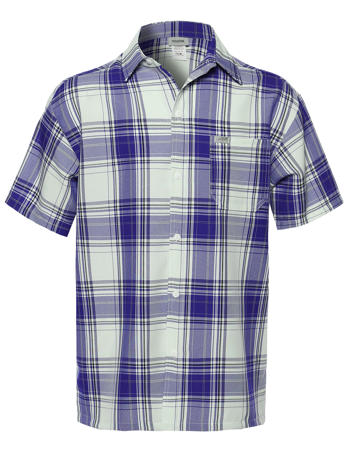 Fashionoutfit men 39 s loose fit plaid checkered short sleeve for Royal blue plaid shirt mens