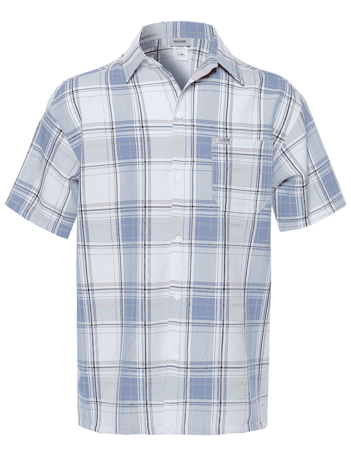 Fashionoutfit men 39 s loose fit plaid checkered short sleeve for White short sleeve button down shirts for men