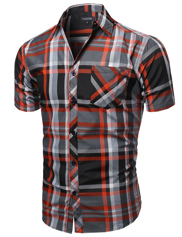 Fashionoutfit men 39 s casual short sleeve collar buttondown for Mens casual plaid shirts