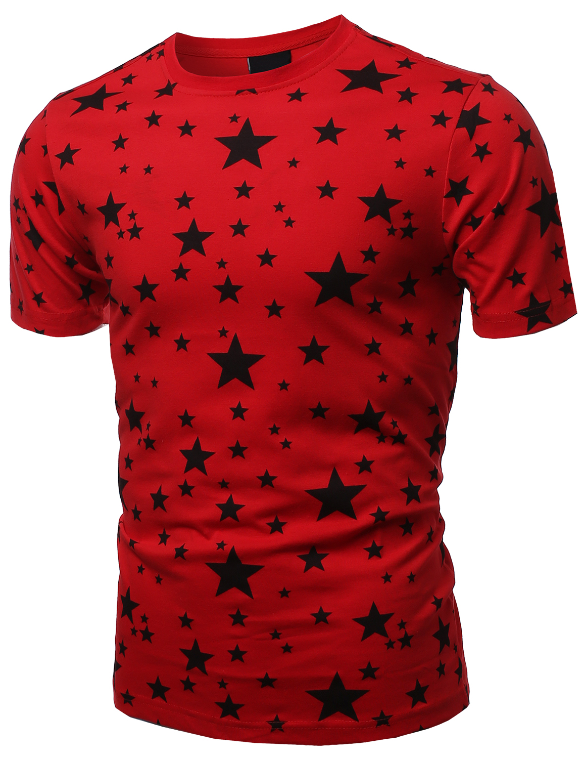 Fashionoutfit men 39 s casual stretch cotton round neck star for Mens shirt with stars