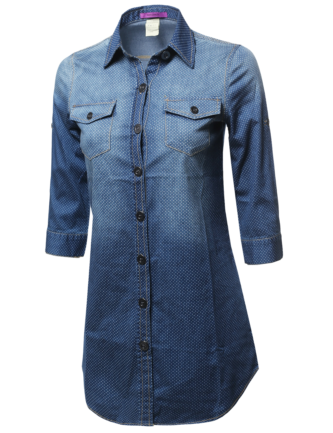 Fashionoutfit women 39 s denim chambray 3 4 sleeve button for Chambray shirt women