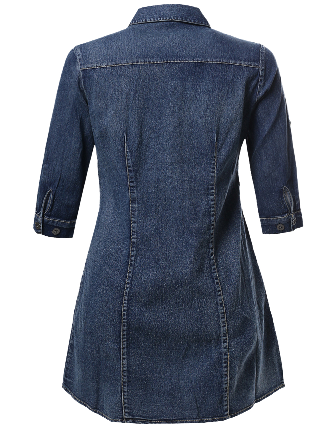 Fashionoutfit womens 3 4 sleeve button down denim chambray for Plus size chambray shirt