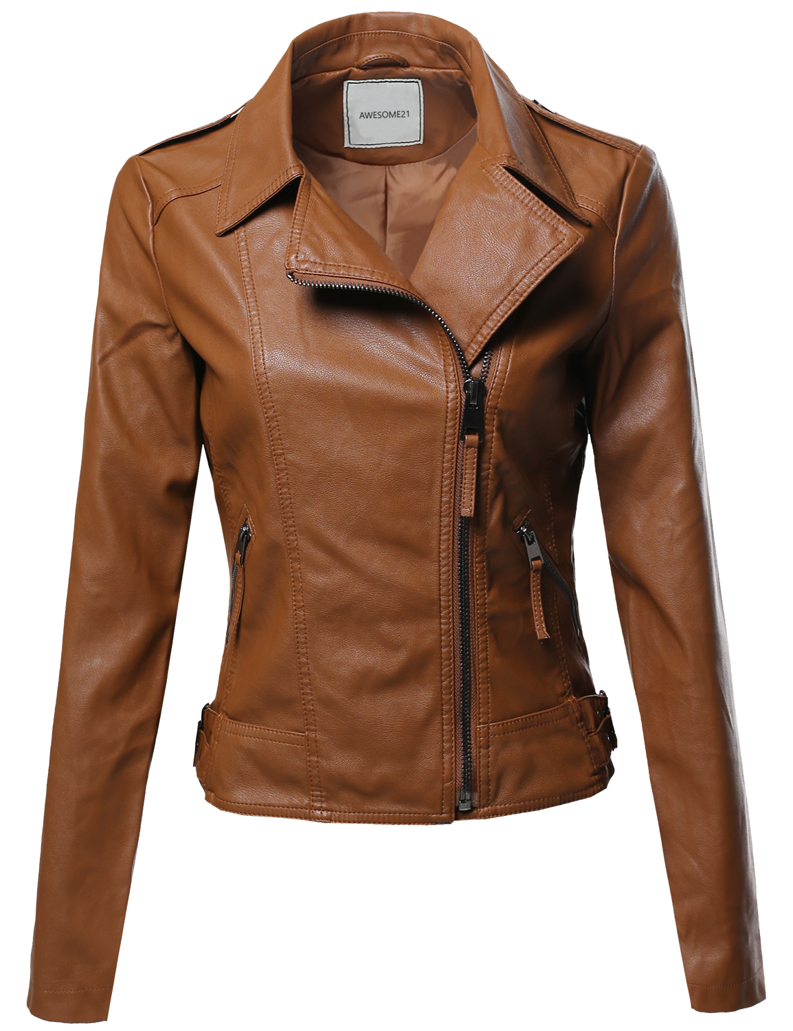 FashionOutfit Women's Classic Casual Cross-Over Moto Faux ...