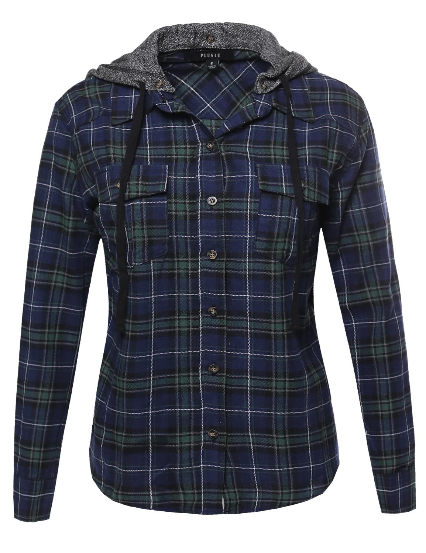 Fashionoutfit women 39 s button down french cotton check for Women s plaid button down shirts