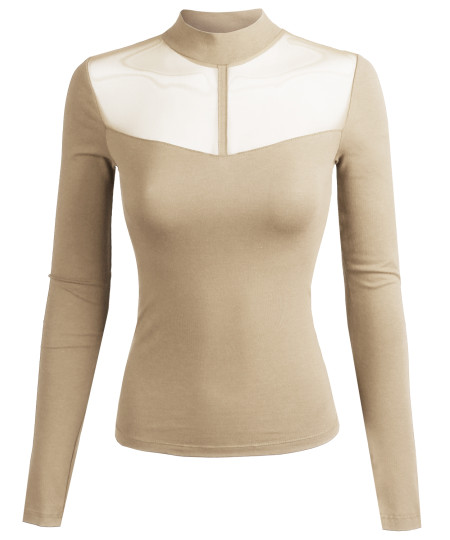 Women's Fitted Long Sleeve Stretch Mock Neck Mesh Detail Top