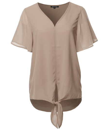 Women's Solid Double Layer Chiffon Front Tie  V-Neck Top