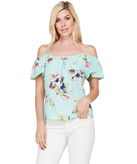 Women's Casual Floral Print Off Shoulder Chiffon Blouse Top - Made In USA