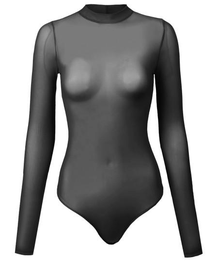 Women's Solid Long Sleeve Mock Neck Sheer Mesh Bodysuit