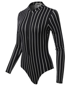 Women's Casual Luxury Front Zipper Brushed Dty Long Sleeve Strip Bodysuit