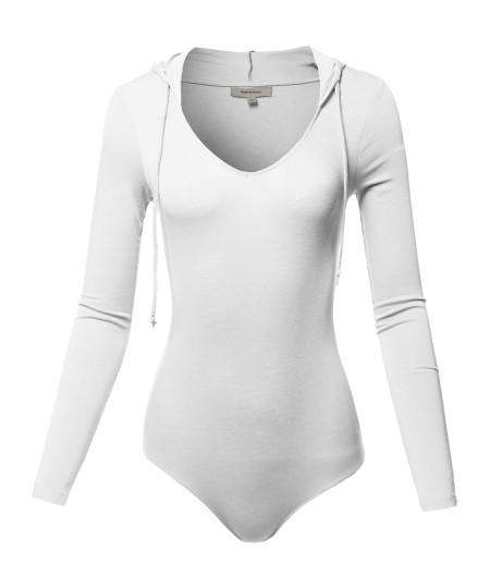 Women's Casual Luxury Sexy Solid Hoodie Long Sleeve Bodysuit