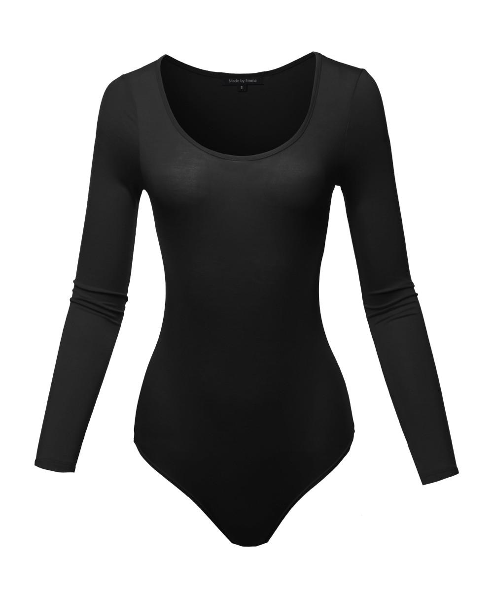 1b4b321198 Women s Classic Solid Long Sleeve Scoop Neck Bodysuit ...
