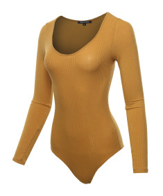 Women's Classic Rib Long Sleeve Scoop Neck Bodysuit
