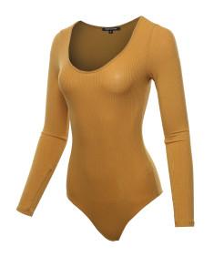 Women's Classic Rib Long Sleeve Scoop Neck Bodysuit