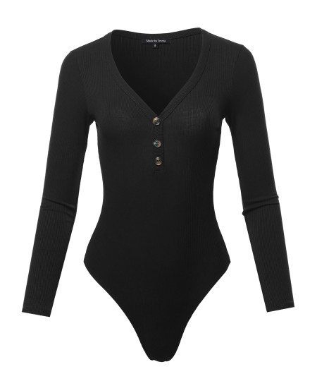 Women's Classic Ribbed Long Sleeve Button Down Bodysuit