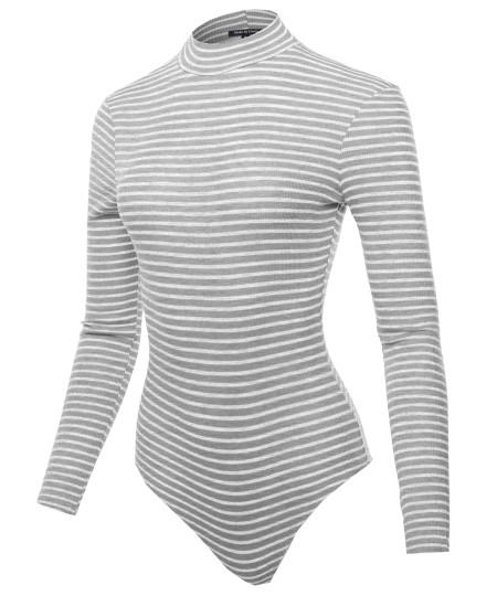 Women's Ribbed Stripe Mock Neck Long Sleeve Bodysuit