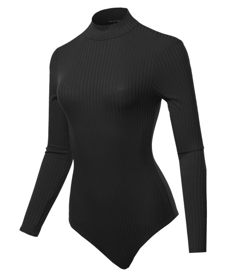 Women's Wide-Ribbed Mock Neck Long Sleeve Bodysuit