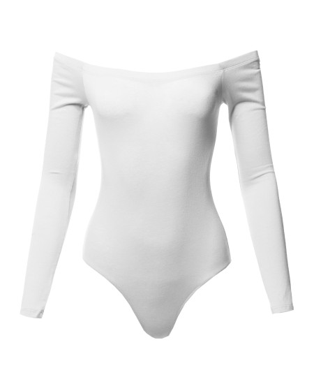 Women's Casual Sexy Solid Off Shoulder Long Sleeve Bodysuit