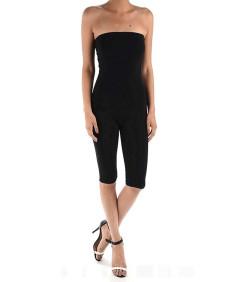 Women's Solid Cotton Tube Top Bermuda Bodysuit