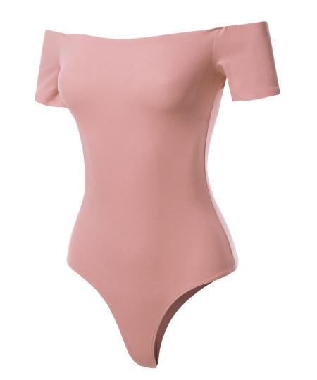 Women's Solid Sexy Off Shoulder Top Bodysuit