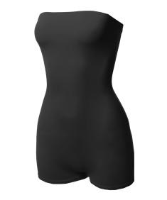 Women's Solid Sexy Neon Tube Top Bodysuit Jumpsuit