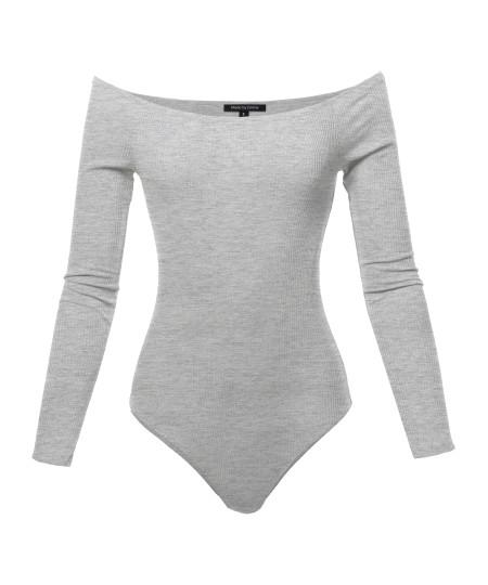 Women's Classic Ribbed Long Sleeve Off-shoulder Bodysuit