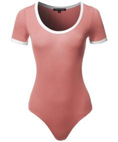 Women's Classic Cute Solid Short Sleeve Contrast Binding Detail Ringer Bodysuit