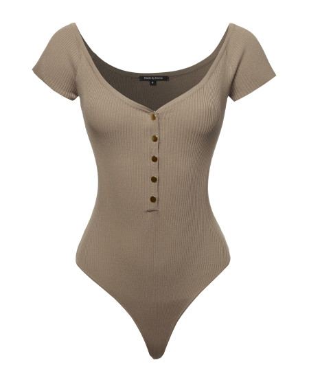Women's Sexy Short Sleeve V Neck Button Down Bodysuit