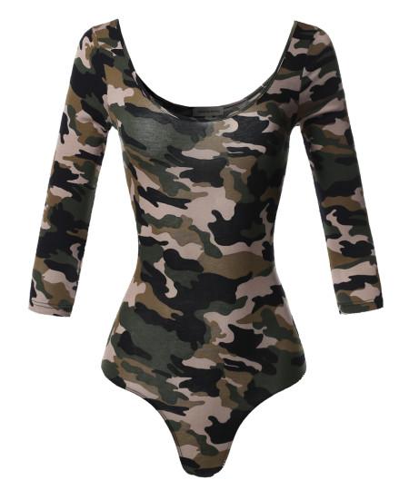 Women's Floral Camo Multi Print 3/4 Sleeves Bodysuit
